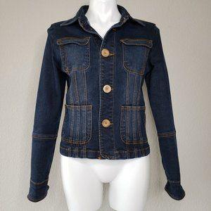 TULLE | Dark Wash Stretch Denim Button Down Jacket